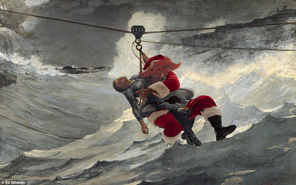 Santa to the rescue! Father takes time out from delivering presents to become the hero in Winslow Homer's 1884 painting The Life Line