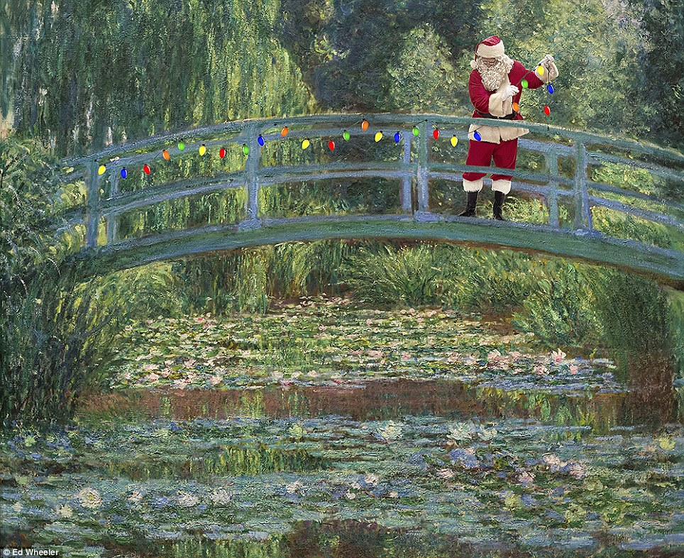 Timeless: Santa takes centre stage together with some Christmas lights in Claude Monet's 1899 classic the Japanese Footbridge
