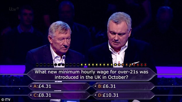 Slightly tougher: Ferguson and Holmes didn't know that the minimum wage had been increased to (B) £6.31
