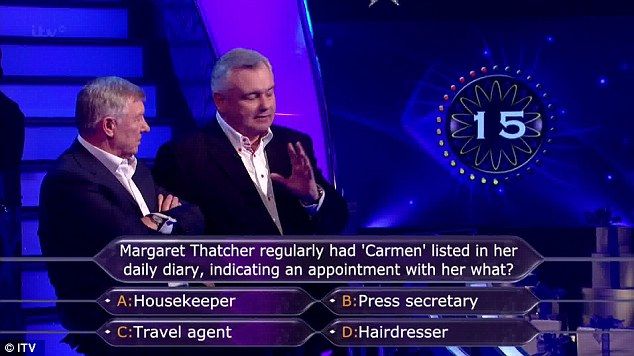 Phone a friend: The duo had to ask a journalist to give them the answer to the question about Margaret Thatcher