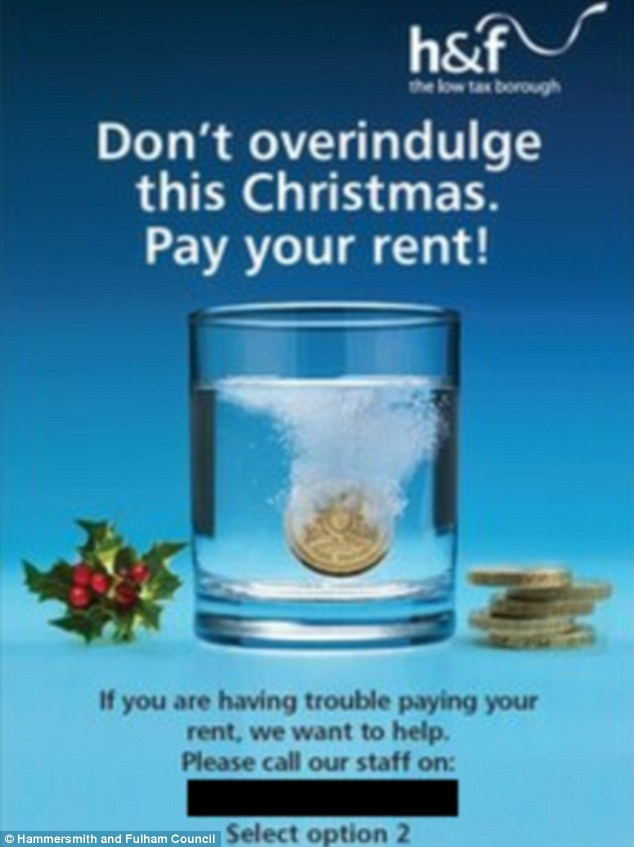 Greeting: An 'insulting' card was sent to social housing tenants in 17,000 properties by Hammersmith and Fulham Council in West London, reminding them to avoid 'overindulging' and to pay their rent