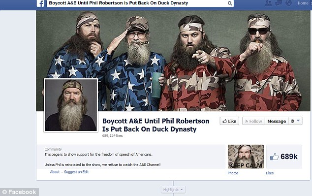 A Facebook page was set up today to boycott the TV network A&E and   gained 689,000 likes on Thursday