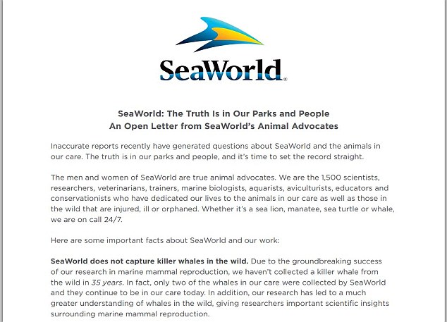 PR to the rescue: An excerpt of the letter SeaWorld released as part of a new ad campaign in response to the negative criticism spawned by insightful documentary Blackfish