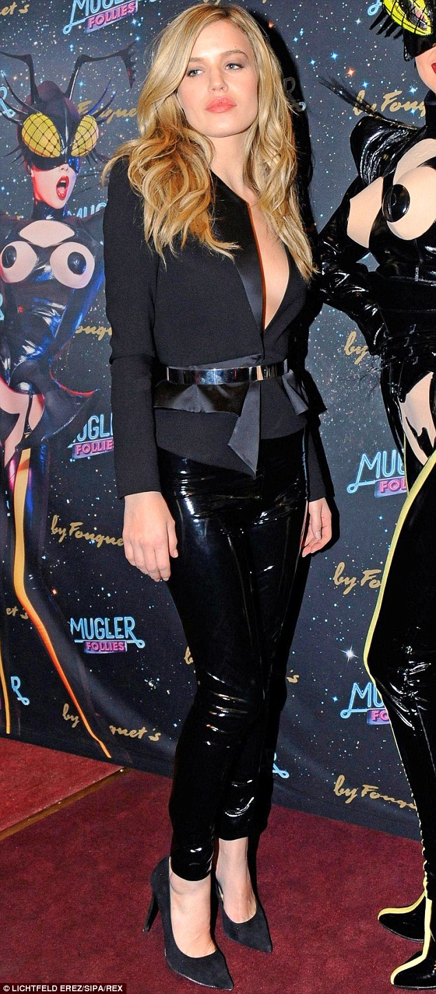 Lovely in latex: Georgia May Jagger opts for a daring look as she attends The Mugler Follies Revue Show in Paris on Thursday