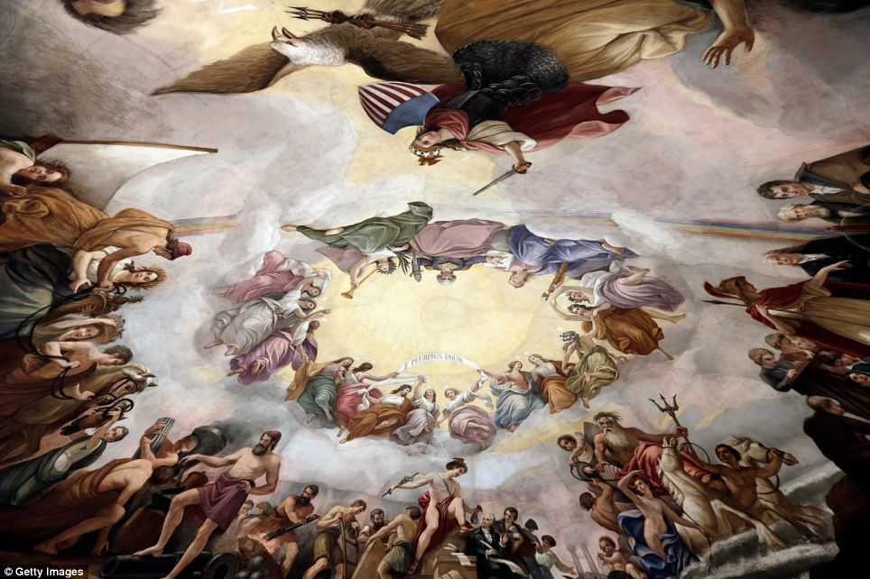 Water damage: The Apotheosis of George Washington fresco in the centre, painted by Italian artist Constantino Brumidi, has also been damaged by rain