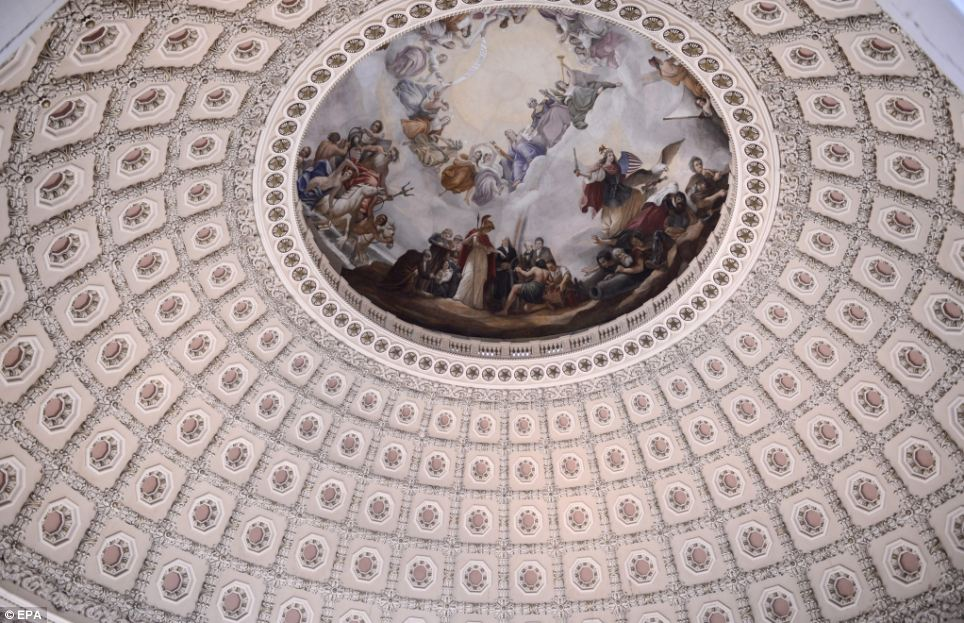 Under construction: Work is due to start on a $60million project to repair the dome of the US Capitol Building which now has around 1,300 cracks in its cast iron shell