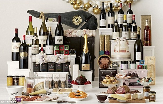 The £10,000 Opulence hamper contains 17 bottles of wine and spirits, plenty of cheese and crackers, Oscietra Caviar and Iberian chorizo