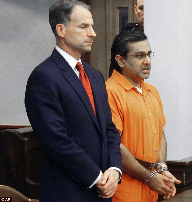 Guilty: Ali Salim, right, apologizes for the death of Deanna Ballman with his attorney, Sam Shamansky, left, on Friday in Delaware. Salim, an ex-doctor, was sentenced to 36 years in jail for the involuntary manslaughter and rape of the 23-year-old in 2012