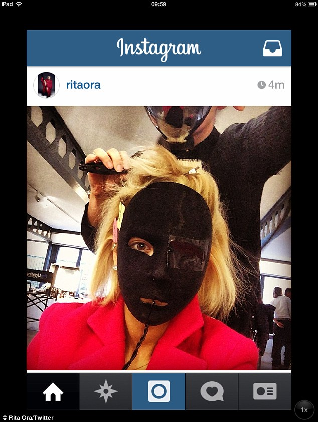 Masked: Rita Ora looks like something from a horror film in the snap, which she shared in Instagram