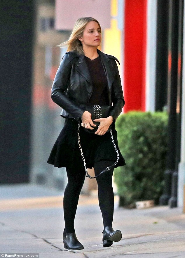 Leathered: The blonde star enjoyed a pre-Christmas shopping spree