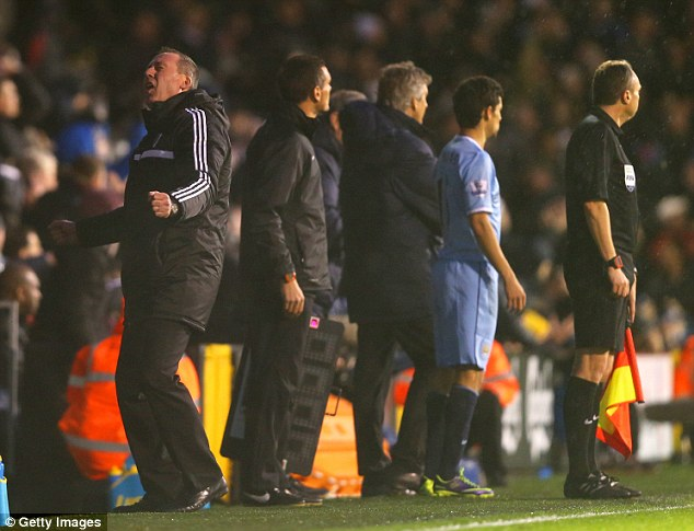 Delight: Fulham manager Rene Meulensteen reacts to seeing his team score