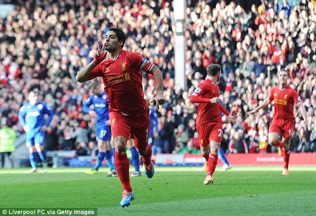 Two good: Liverpool's Luis Suarez celebrates after scoring a double against Cardiff at Anfield