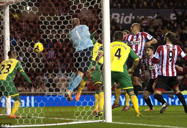 Close! Wes Brown sees his header come off the post as Sunderland couldn't break the deadlock