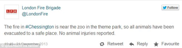 Tweet: The London Fire Brigade has reassured Twitter users that there are no reported injuries to animals