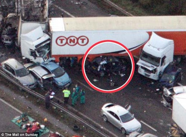 Ms Barton's car was trapped under a lorry in the pile-up which has been described as the worst in Britain's history