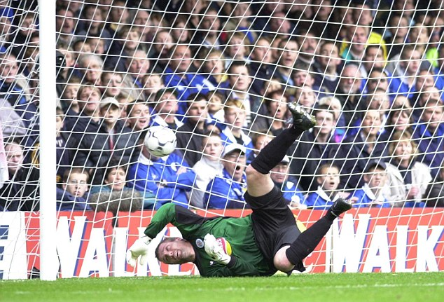 Moving up: Former England goalkeeper Tim Flowers, pictured here in action for Leicester City, made the jump from the fourth tier to the top flight