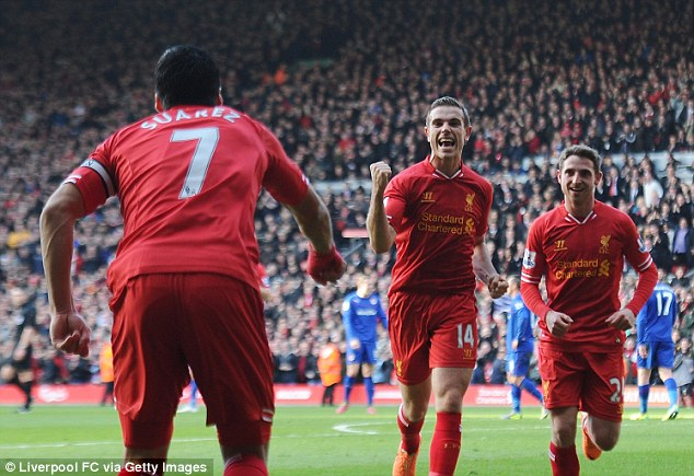 Red hot! Jordan Henderson helped propel Liverpool to the top of the table after their 3-1 win against Cardiff