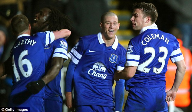 Coleman goals: The Toffees defender celebrates his stunning strike