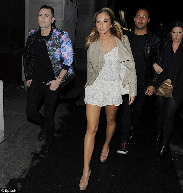 Perfect pins: The singer was enjoying a night out for her close friend, Gareth Varey's birthday
