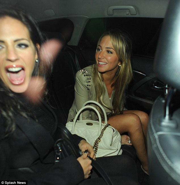 What a night! Tulisa and her friend look extremely happy as they leave Steam and Rye for friend, Gareth Varey's birthday
