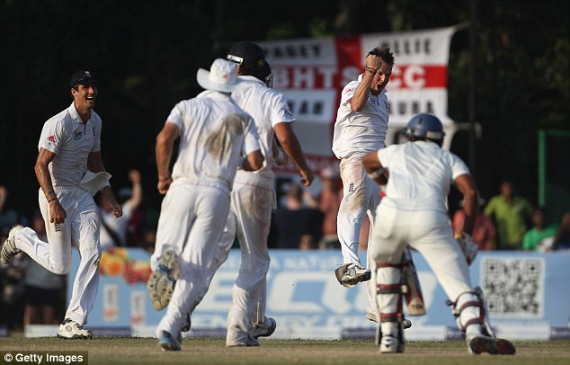 On form: Swann jumps in the air as he takes the third 10-wicket haul of his Test career in Colombo
