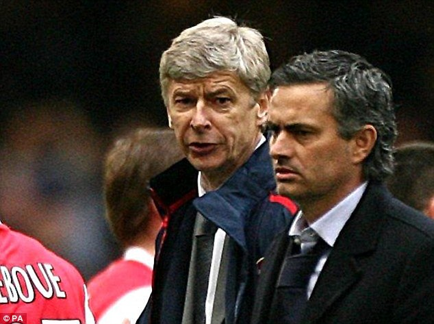 Friend or foe? Mourinho was intense in his mind game battle with the Arsenal manager when first at at Chelsea