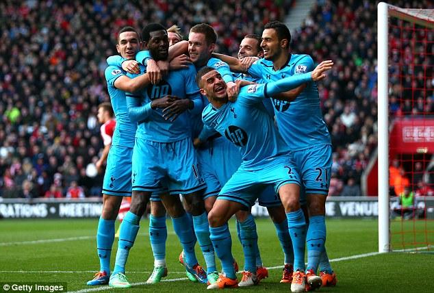 Vital win: Caretaker manager Tim Sherwood guided Tottenham to a 3-2 win over Southampton on Sunday