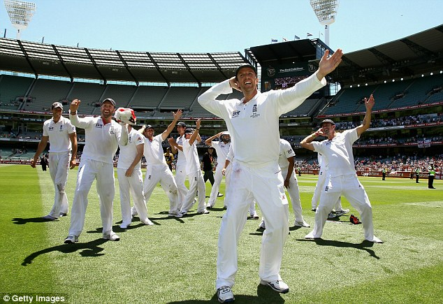 Better times: Swann immortalised the sprinkler dance after England won the Ashes in Australia during 2010/11