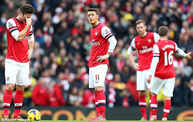 Move on: Arsenal players needed to forget about their defeat against Man City heading into the Chelsea match
