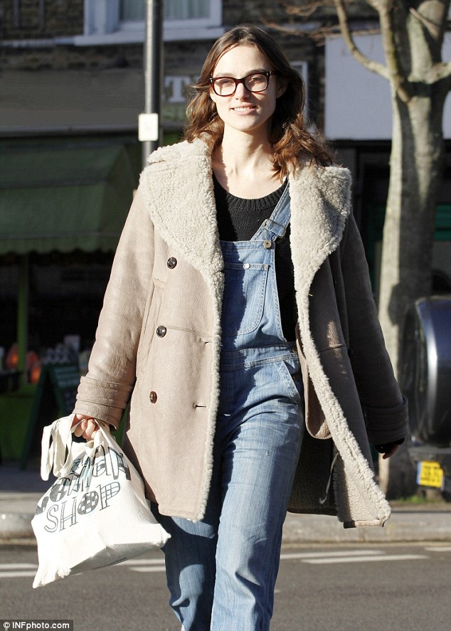 Easily pleased: She might be the face of Chanel but Keira likes to keep her belongings in a simple eco-friendly bag