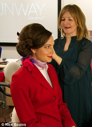 Transformation: A loose-haired Jenny (left) in her more natural form and right, starting to look the part after a session in the chair with Helen Kavannagh, the Grooming Standards Manager for Virgin Atlantic