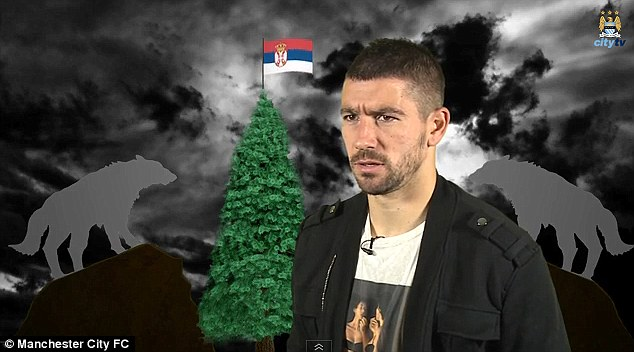 Stage is set: Kolarov requested a Christmas tree with the Serbian flag on top along with some wolves to set the mood for his song