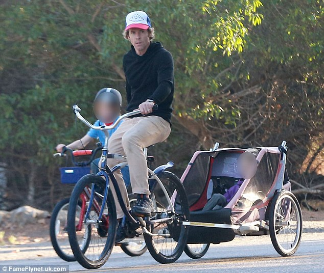 A bicycle made for two: Julia's husband Daniel Moder pulled their son Henry behind him