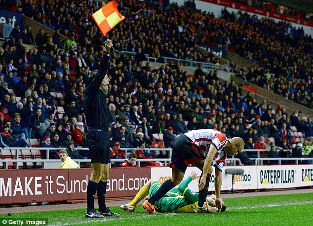 In pain: Wes Brown's foul on Snodgrass resulted in a red card for the Sunderland defender