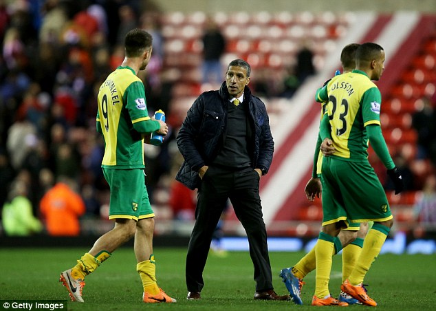 Relaxed: Chris Hughton (centre)  talks to Dutch striker Ricky van Wolfswinkel (left) at the end of the goalless draw with Sunderland