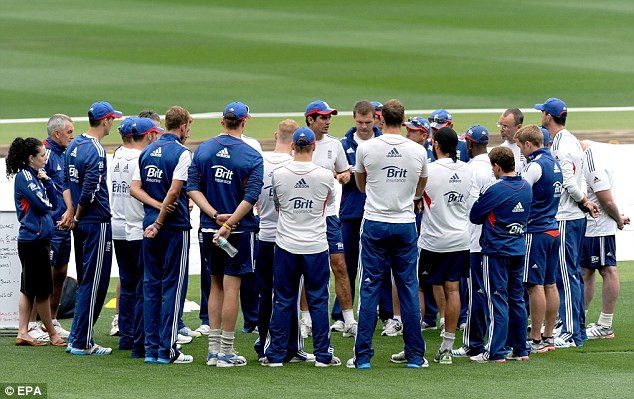 Work to do: Alastair Cook speaks to his squad at the MCG ahead of the fourth Test
