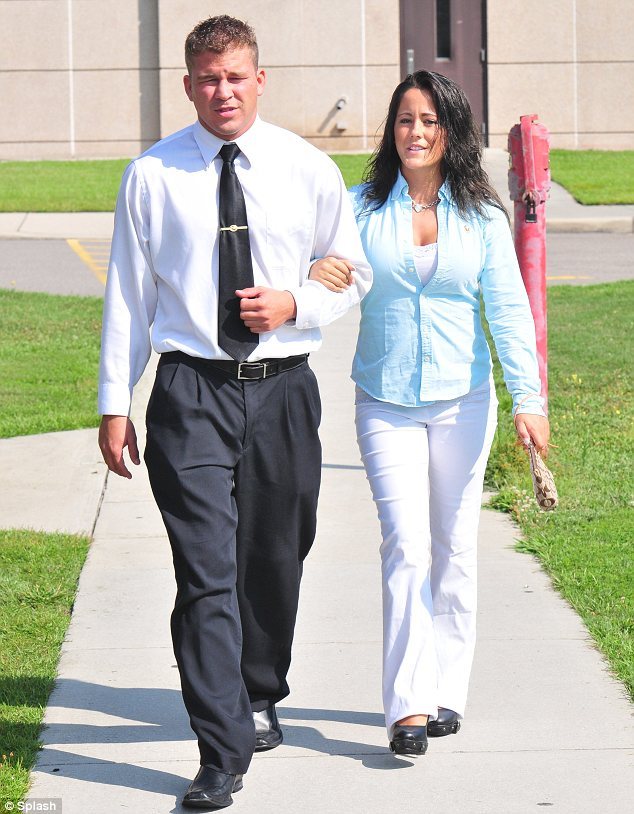 Planned: Jenelle and her current boyfriend Nathan Griffith are believed to have planned the pregnancy but less than two weeks ago she was arrested after an argument between them
