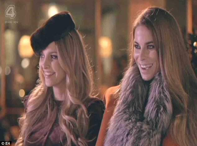 Bitch fight: Sophie (left) and Victoria (toffee-nosed) taunt Cheska for wearing ear muffs, even though they were the ones decked in fur