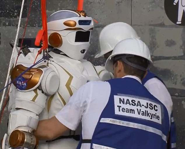 Embarassing: The robot created by NASA (pictured) failed to complete any of the eight tasks it was assigned during the two-day DARPA competition