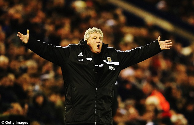 Up against it: Steve Bruce faced a mission to improve Hull's awful record against Man United