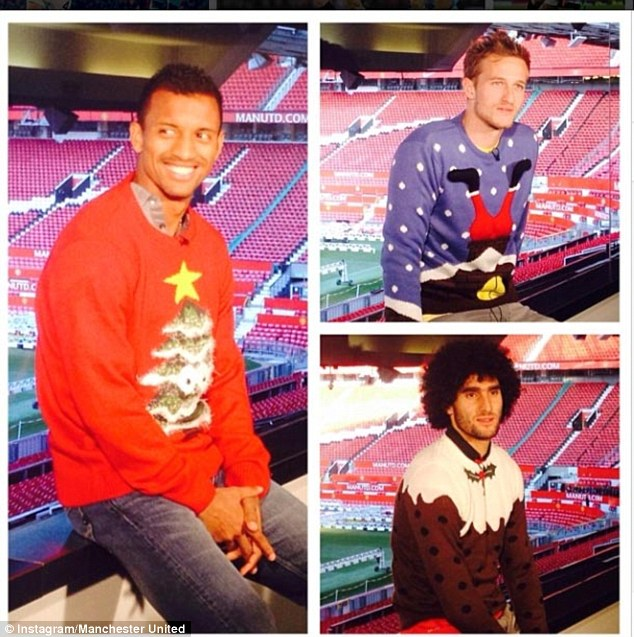 Fetching: Nani (left), Anders Lindegaard (top right) and Marouane Fellaini model their Christmas jumpers