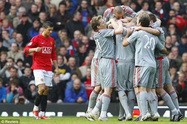 Close: Liverpool beat United 4-1 at Old Trafford in March, but stumbled towards the end of the term