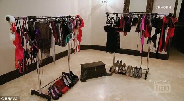 Dressing room: The reality star already has the right wardrobe for the sordid playroom