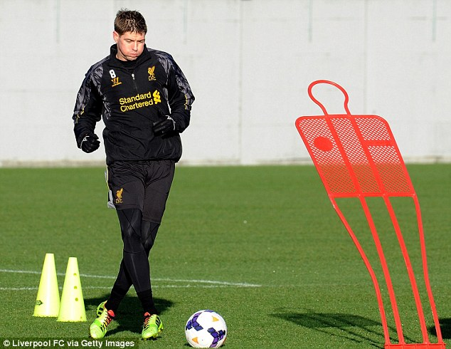 Back? Gerrard trained on Christmas Eve at Melwood despite being tipped to be out for another three or four weeks