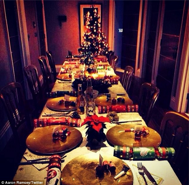 At the Emir-eats: Aaron Ramsey's Christmas table is only missing a turkey