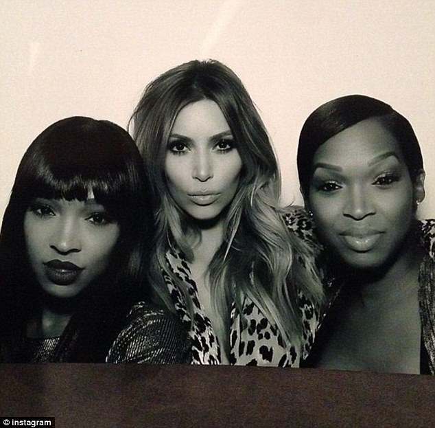 Treble trouble: Kim posted a photo of herself and friends at the party along with the words: 'Double Trouble @theeforevermalika @foreverkhadijah'