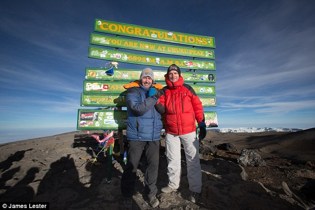 We made it! Robson and Moran enjoy the view 19,341ft above sea level