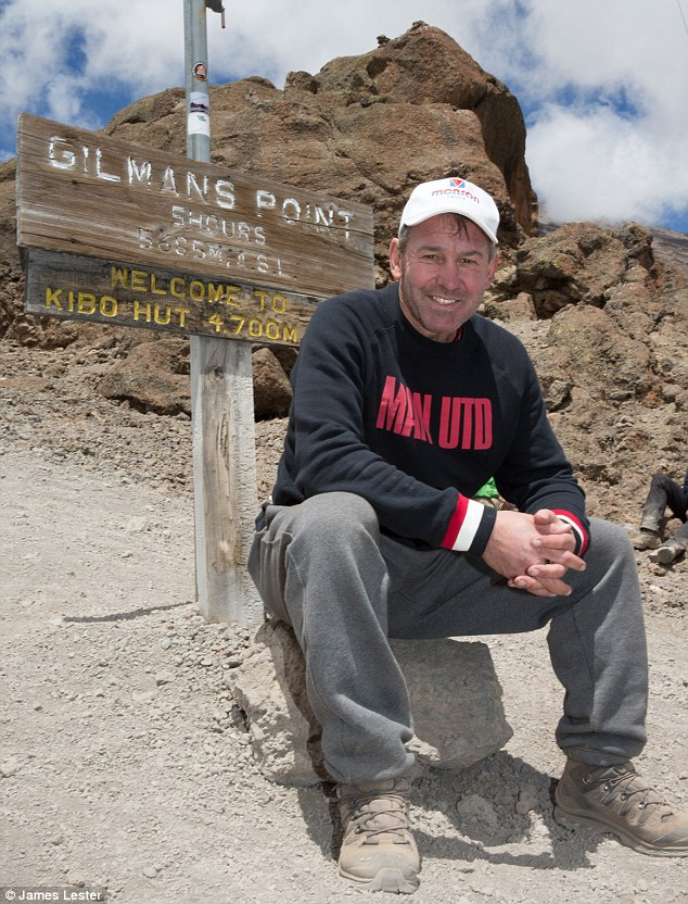 Top of the world: Bryan Robson endured -22C temperatures to make the peak of Mount Kilimanjaro for charity