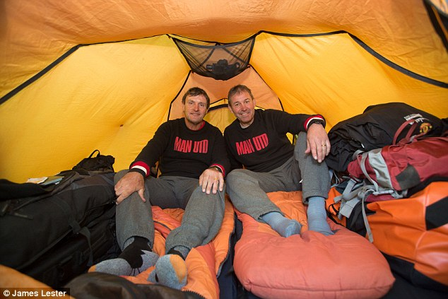 Team-mates: Robson paired up with old pal Kevin Moran when sleeping on the mountain - they even went for midnight toilet breaks together!