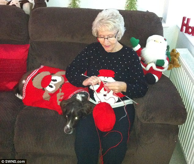 Hard at work: Doreen Gover, 78, knits one of the 28 jumpers she made for members of her family
